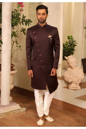 Wine Colour Indowestern Mens Wear.