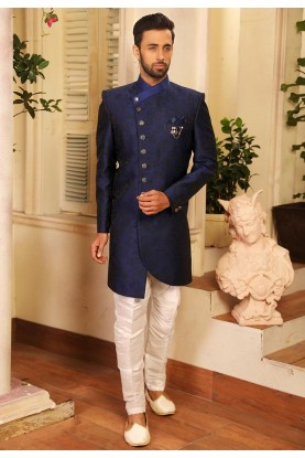 Blue Colour Jacquard Men's Indowestern.