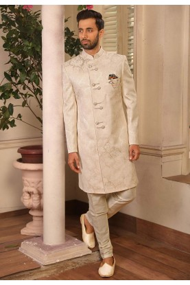 Designer Indowestern in Cream Colour.