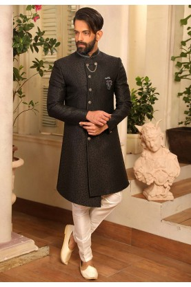 Black Colour Nawabi Style Men's Indowestern.