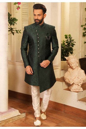 Green Colour Designer Indowestern For Men.