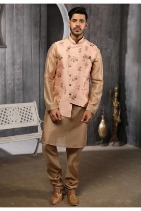 Peach,Brown Colour Readymade Kurta Pajama jacket.