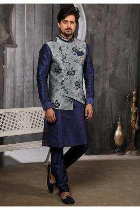 Grey,Blue Colour Party Wear Kurta Pajama.
