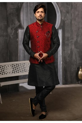 Maroon,Black Colour Party Wear Kurta Pajama.