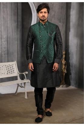 Green,Black Colour Kurta Pajama Jacket.