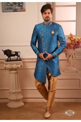 Blue Colour Indowestern Kurta Pajama.