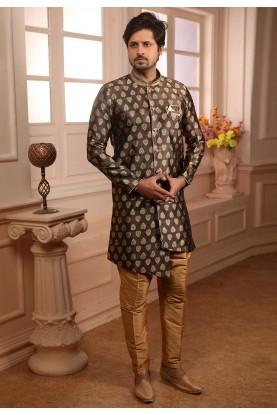 Brown Colour Designer Indowestern Kurta Pajama.