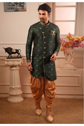 Green Colour Brocade Silk Indowestern.
