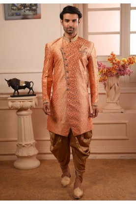 Peach Colour Brocade Silk Semi Indowestern.