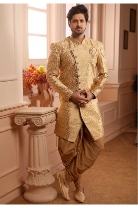Wedding Semi Indowestern Golden Colour.