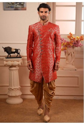 Maroon Colour Party Wear Semi Indowestern.