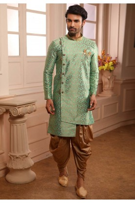 Green Colour Brocade Silk Semi Indowestern For Men's Wear.