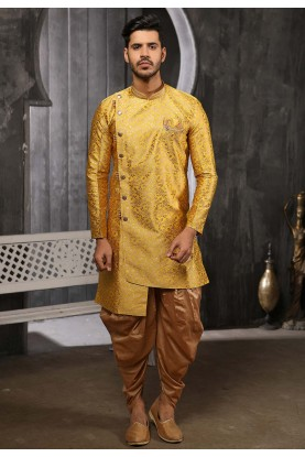 Yellow Colour Stylish Designer Semi Indowestern.