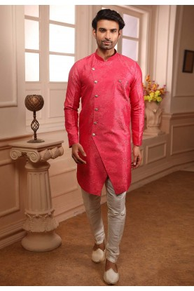Pink Colour Plain Semi Indowestern.
