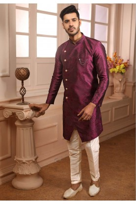 Designer Semi Indowestern Magenta Colour.