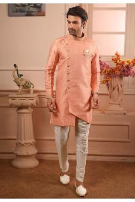 Fabulous Designer Peach Colour Semi Indowestern.
