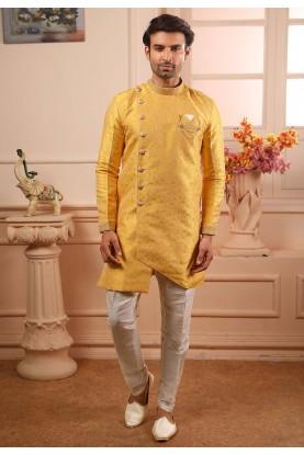 Yellow Colour Indian Designer Semi Indo For Men's Wear.