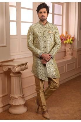Cream,Green Colour Semi Indowestern.