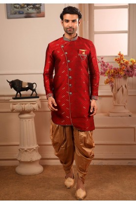Maroon Colour Designer Semi Indowestern.