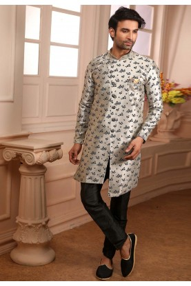 Grey,Black Colour Designer Semi Indowestern.
