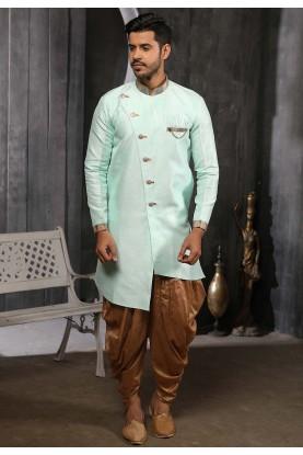 Green Colour Banarasi Silk Semi Indowestern.