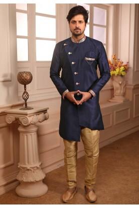 Blue Colour Party Wear Semi Indo For Men's Wear.