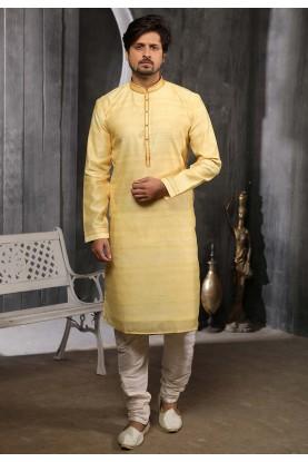 Yellow Colour Banarasi Silk Kurta Pajama.