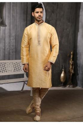 Golden Colour Men's Wear Kurta Pajama.