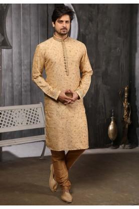 Golden Colour Pintux Kurta Pajama.