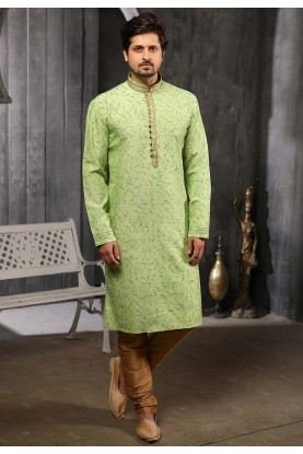 Party Wear Kurta Pajama In Green Colour.