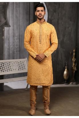 Yellow Colour Brocade Silk Kurta Pajama.
