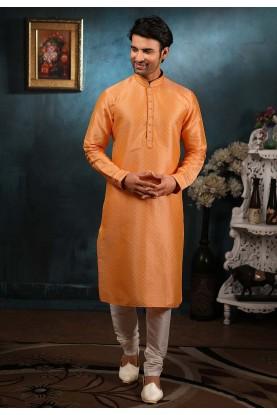 Peach Colour Traditional Kurta Pajama.