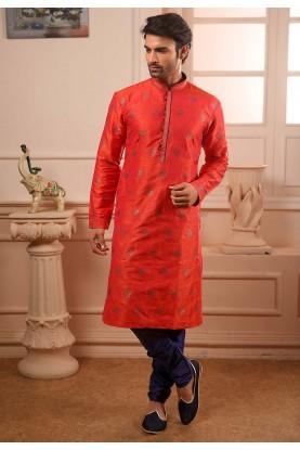 Indian Wedding Kurta Pajama in Orange Colour.