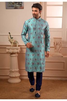 Blue Colour Brocade Silk Kurta Pajama.