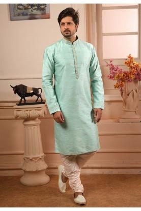 Pista Green Colour Kurta Pajama.