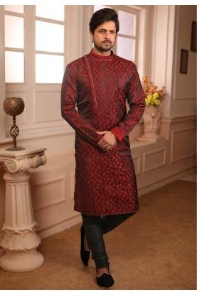 Wine Colour Party Wear Kurta Pajama.