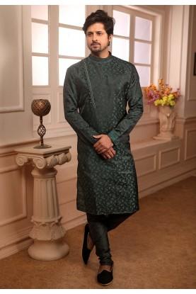 Green Colour Iindian Designer Kurta Pajama.