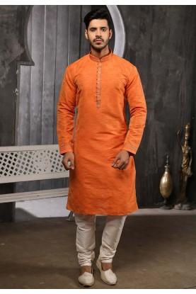 Rust Colour Traditional Kurta Pajama.