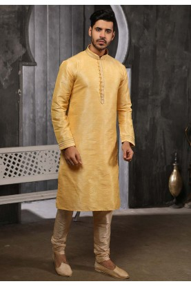 Golden Colour Designer Kurta Pajama.