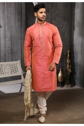 Pink Colour Jacquard Men's Kurta Pajama.