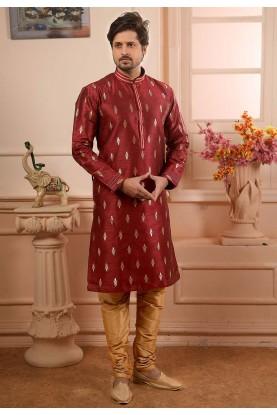 Wine Colour Readymade Kurta Pajama.