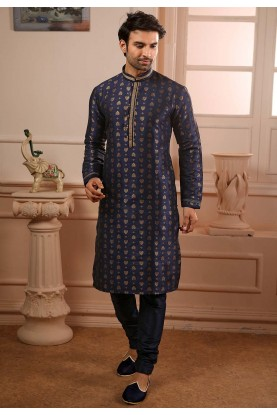 Blue Colour Pintux Kurta Pajama.