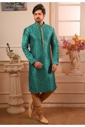 Green Colour Indian Designer Kurta Pajama.