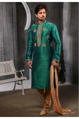 Green Colour Indian Wedding Kurta Pajama.