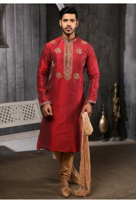 Maroon Colour Banarasi Silk Wedding Kurta Pajama.