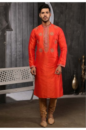 Orange Colour Indian Designer Kurta Pajama.
