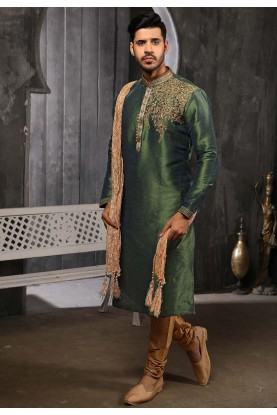 Green Colour Designer Kurta Pajama.