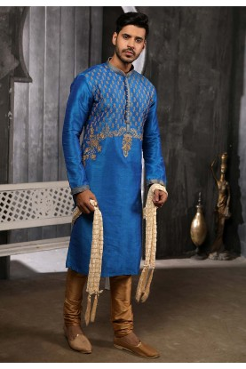 Blue Colour Banarasi Silk Kurta Pajama.