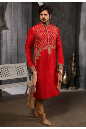 Maroon Colour Wedding Kurta Pajama.