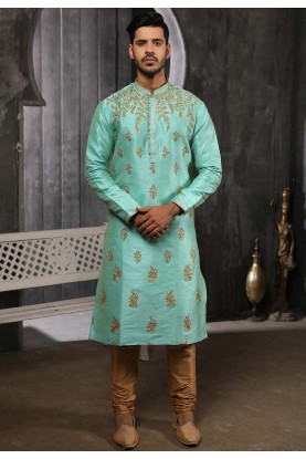 Pista Colour Banarasi Silk Designer Kurta Pajama.